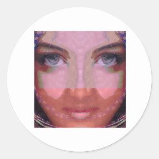NAINA: Gráficos perfectos del chica de los LABIOS Etiqueta Redonda