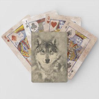 Naipe del ejemplo del lobo de madera baraja de cartas