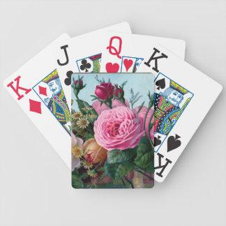 Naipe precioso de los rosas del vintage baraja cartas de poker