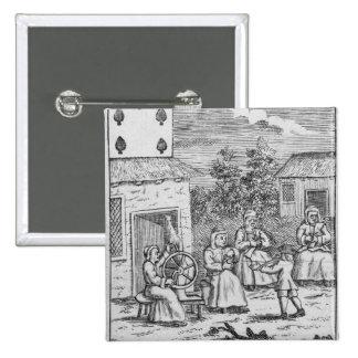 Naipe que muestra a los trabajadores que hacen med pin cuadrada 5 cm