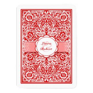 """Naipe rojo y blanco - el casarse de los corazones invitación 5"""" x 7"""""""