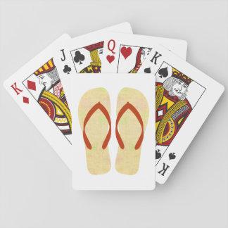 Naipes amarillos de los flips-flopes del fiesta de barajas de cartas
