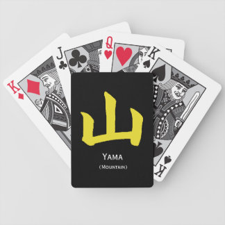 Naipes amarillos w del kanji de la montaña cartas de juego