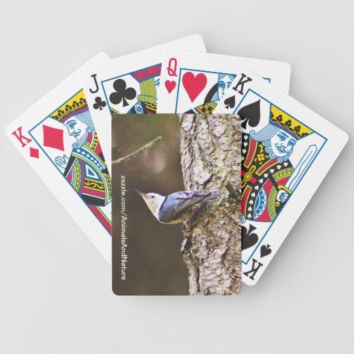 Naipes amarillos y azules del pájaro barajas de cartas