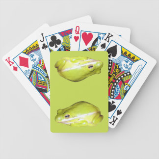 Naipes americanos verdes de la rana arbórea barajas de cartas