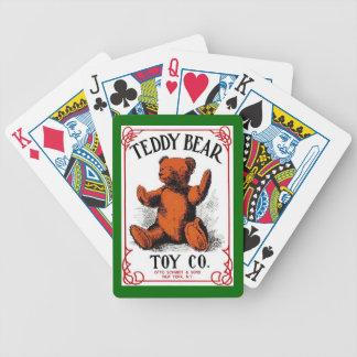 Naipes antiguos del juguete del oso de peluche de  cartas de juego