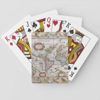 Naipes antiguos del mapa del mundo