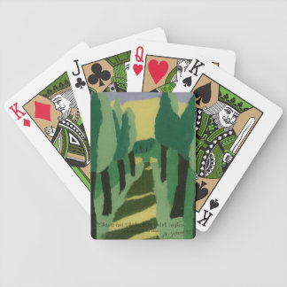Naipes arbolados verdes de la trayectoria baraja de cartas