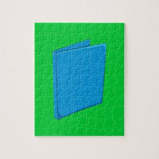 Naipes azules de encargo del saludo de la carpeta rompecabezas