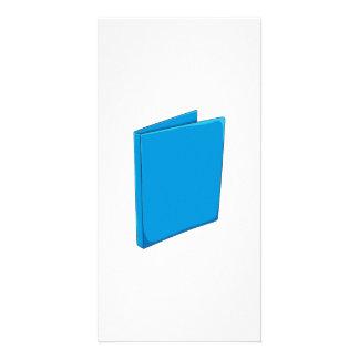 Naipes azules de encargo del saludo de la carpeta tarjeta fotografica personalizada