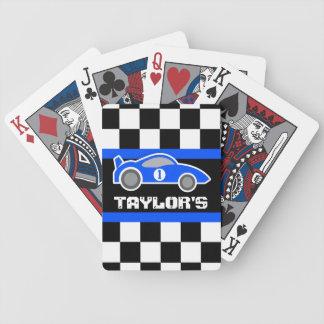 Naipes azules de la edad del nombre del coche de d barajas de cartas