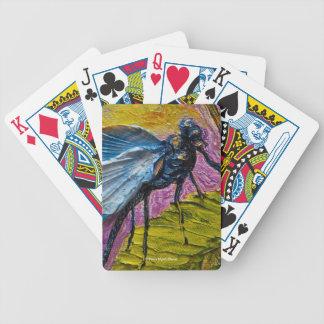 Naipes azules de la libélula baraja de cartas