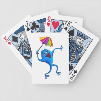 Naipes azules de la rana del canto baraja cartas de poker