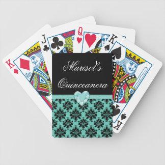 Naipes azules de Quinceanera del corazón de la Barajas De Cartas