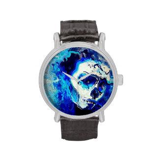 naipes azules del cráneo relojes de pulsera