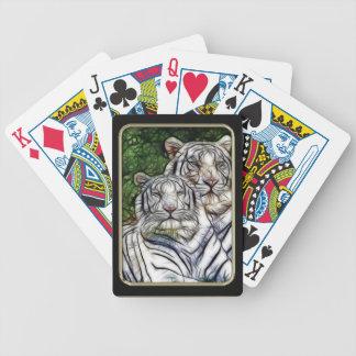 Naipes blancos del arte del fractal de los tigres barajas de cartas