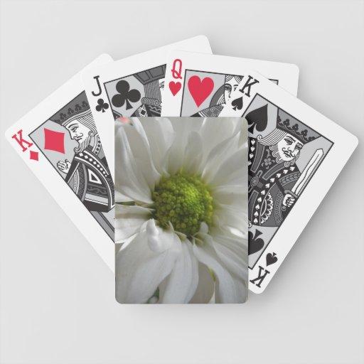 Naipes blancos del crisantemo barajas de cartas