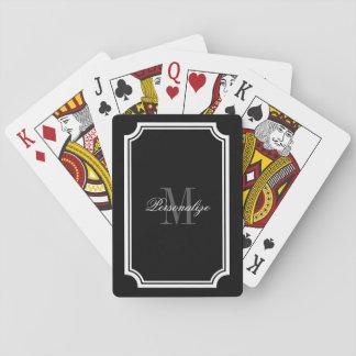 Naipes blancos y negros atractivos del monograma barajas de cartas