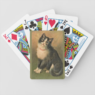 Naipes blancos y negros del gato cartas de juego