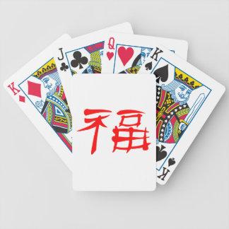Naipes chinos del símbolo de la suerte (rojos) baraja