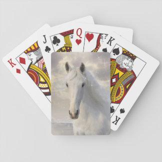 Naipes chispeantes del caballo blanco