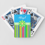 Naipes coloridos azules personalizados de la flor baraja cartas de poker
