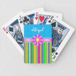 Naipes coloridos azules personalizados de la flor cartas de juego