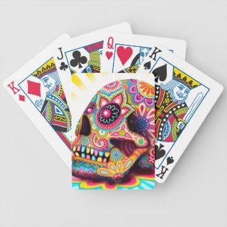 Naipes coloridos del arte del cráneo del azúcar cartas de juego