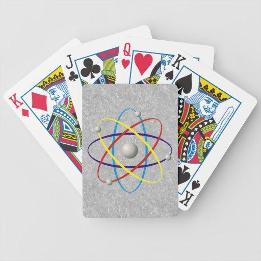 Naipes coloridos del átomo baraja de cartas