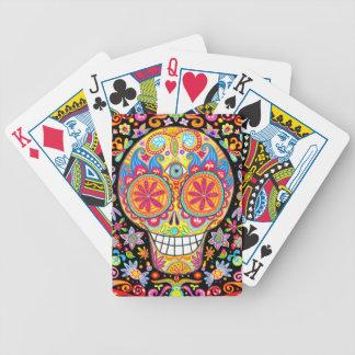 Naipes coloridos del cráneo del azúcar baraja cartas de poker