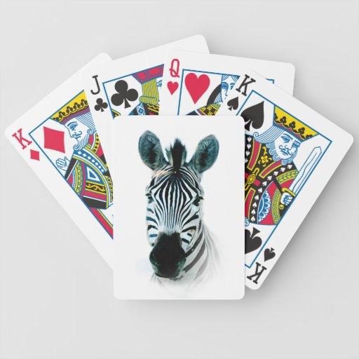 Naipes con el retrato de la cabeza de la cebra cartas de juego