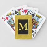 Naipes cones monograma amarillos y negros cartas de juego