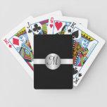Naipes cones monograma del círculo de plata cartas de juego