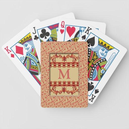 Naipes cones monograma del modelo floral de las vi cartas de juego