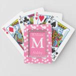 Naipes cones monograma florales blancos rosados barajas de cartas