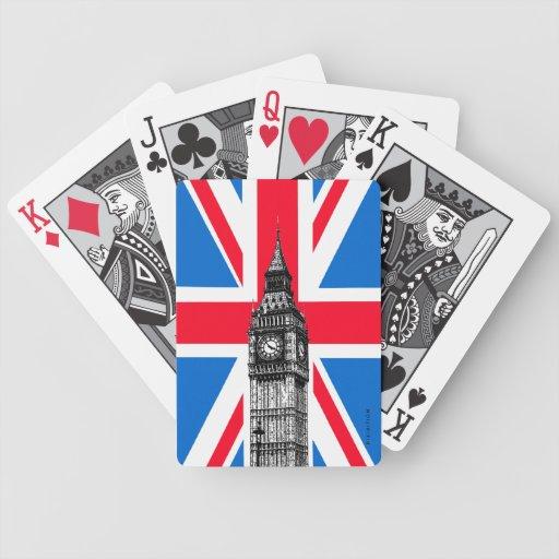 Naipes de Big Ben Union Jack Londres Inglaterra Baraja Cartas De Poker