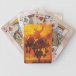 Naipes de cobre artísticos del jinete del toro del baraja de cartas