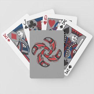 Naipes de color salmón del ciclo baraja de cartas