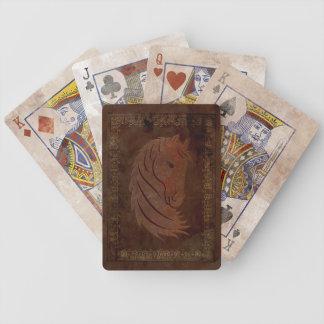 Naipes de cuero del caballo de la mirada baraja cartas de poker