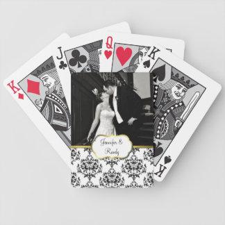 Naipes de encargo de la foto del boda del damasco barajas de cartas