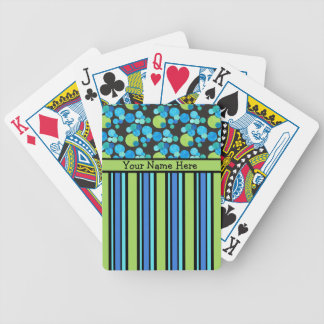 Naipes de encargo, lunas azules y rayas baraja de cartas