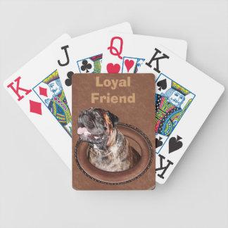 Naipes de la ampliación de foto con el perro baraja cartas de poker