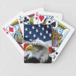 Naipes de la bandera americana de Eagle calvo Baraja