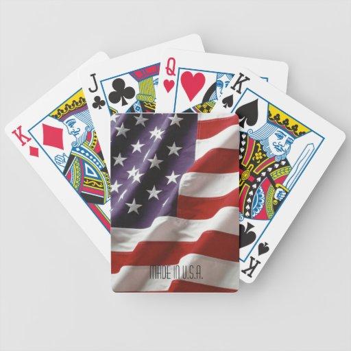 Naipes de la bandera americana de la bicicleta baraja cartas de poker