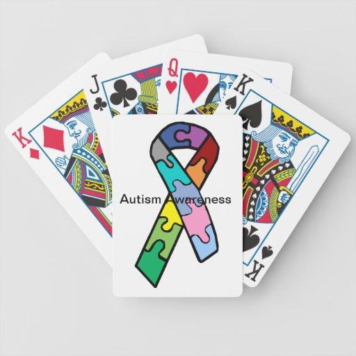 Naipes de la cinta de la conciencia del autismo cartas de juego
