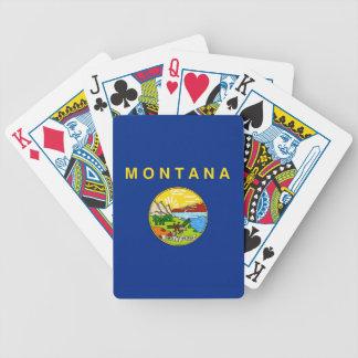Naipes de la cubierta con la bandera de Montana