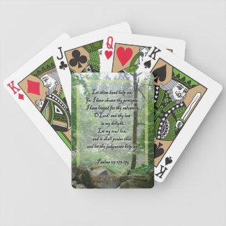 Naipes de la escritura de los salmos barajas de cartas