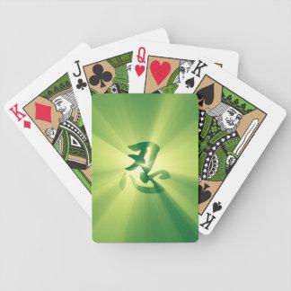 Naipes de la explosión de la estrella del verde de cartas de juego