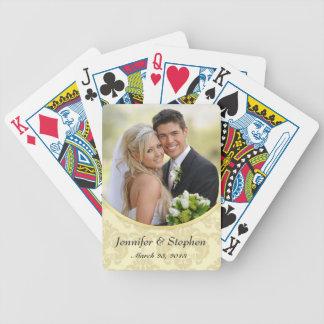 Naipes de la foto del boda del damasco de Ecru Barajas De Cartas