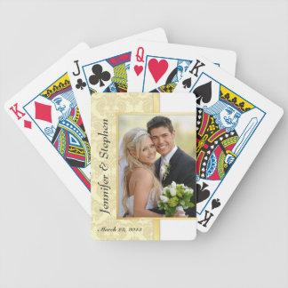 Naipes de la foto del boda del damasco del oro cartas de juego